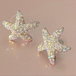 Starfish Rhinestone Stud Earrings